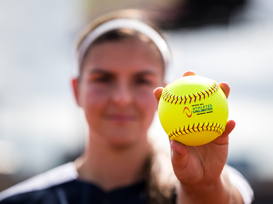 Close-up photo of Athletes Unlimited Softball.